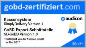 Siegel Simplydelivery GOBD Zertifizierung
